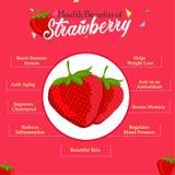 Health Benefits of Strawberry. Fresh Strawberry. royalty free illustration