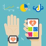 Health book on smartwatch and smartphone Royalty Free Stock Photo