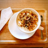 Health breakfast with yogurt and cereal, with Napkins Stock Image