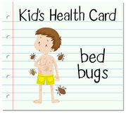 Health card with boy and bed bugs Royalty Free Stock Image