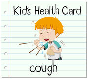 Health card with boy coughing. Illustration Royalty Free Stock Photo