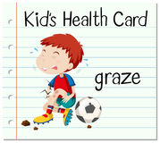 Health card with boy having graze. Illustration vector illustration