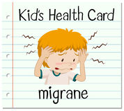 Health card with boy having migrane Stock Photos