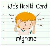 Health card with boy having migrane Stock Photos