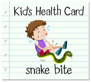 Health card with boy and snake bite Royalty Free Stock Images