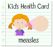Health card with girl having measles Royalty Free Stock Image