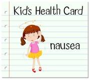 Health card with girl having nausea Stock Image