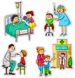Health care. Children in different situations related to health and medicine Royalty Free Stock Photography