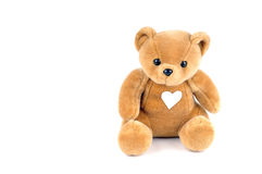 Health care. Teddy bear with a patch on the chest, in the form of a heart Stock Photos