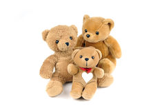 Health care. Three teddy bears, one has a patch in the shape of a heart on the chest Stock Photo