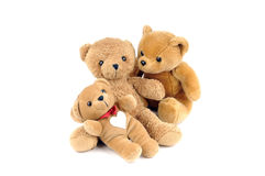 Health care. Three teddy bears, one has a patch in the shape of a heart on the chest Royalty Free Stock Photos