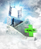 Health care access on top with gate entrance and stairway Stock Images