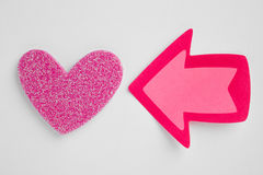 Health care background with heart and arrow signal. Valentine Royalty Free Stock Photography