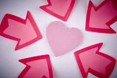 Health care background with heart and arrow signals. Valentine Stock Photo