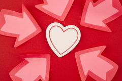 Health care background with heart and arrow signals. Valentine Stock Images