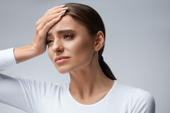 Health Care. Beautiful Woman Suffering From Head Pain, Headache Stock Images