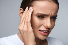 Health Care. Beautiful Woman Suffering From Head Pain, Headache Royalty Free Stock Photo
