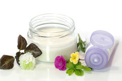 Health-care about body. Cosmetic cream with the flower aroma and the medicinal action Royalty Free Stock Photos