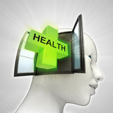 Health care coming out or in human head through window concept Royalty Free Stock Photography