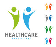 Health Care Company Logo Template. Company logo template with two healthy people jumping Royalty Free Stock Images