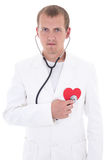 Health care concept - doctor with stethoscope holding red paper Royalty Free Stock Photos