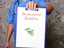 Health care concept meaning Developmental Disabilities with phrase on the piece of paper