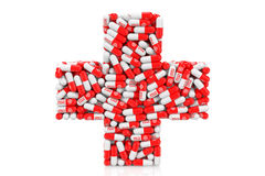 Health Care Concept. Medical Pills as Cross Stock Photos