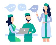 Health care concept. Meeting, a Council of doctors, discuss the diagnosis, develop a method of treatment stock illustration