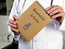 Health care concept about Rheumatoid Arthritis with sign on the page