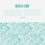 Health care concept with thin line icons. Related to hospital, clinic, laboratory. Vector illustration for conclusion, banner, web page Stock Photo