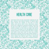 Health care concept with thin line icons. Related to hospital, clinic, laboratory. Vector illustration for conclusion, banner, web page Stock Photos