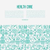 Health care concept with thin line icons. Related to hospital, clinic, laboratory. Vector illustration for conclusion, banner, web page Stock Photography