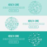 Health care concept with thin line icons. Related to hospital, clinic, laboratory. Vector illustration for conclusion, banner, web page Stock Images