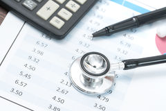 Health care costs. Stethoscope and calculator symbol for health Stock Photography