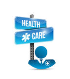 Health care doctor and street sign. isolated Stock Photos