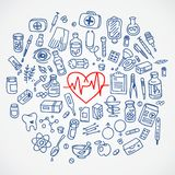 Health care doodle icons background Royalty Free Stock Photo