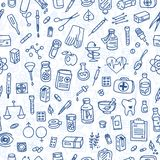 Health care doodle icons background. Health care doodle icons seamless background, vector Royalty Free Stock Images