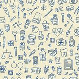 Health care doodle icons background Stock Photography