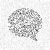 Health care doodle icons background Royalty Free Stock Image