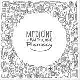 Health care doodle icons background. Vector illustration Royalty Free Stock Image