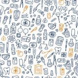 Health care doodle icons background. Vector illustration Stock Images