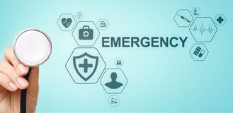 Health Care Emergency concept on screen. Medical doctor using computer. Health Care Emergency concept on screen. Medical doctor using computer royalty free stock image