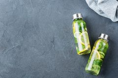 Fresh cool lemon cucumber mint infused water detox drink. Health care, fitness, healthy nutrition diet concept. Fresh cool lemon cucumber mint infused water royalty free stock photo