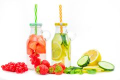 Free Health Care, Fitness, Healthy Nutrition Diet Concept. Fresh Cool Strawberry And Lemon And Mint Infused Water,  Detox Drink, In A Stock Image - 164320331