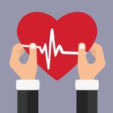 Health care. Hands holding a red heart. Flat Medical Icon. Vector illustration Stock Photos