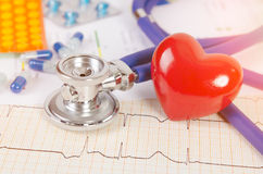 Health care with heart and stethoscope composition Royalty Free Stock Photos