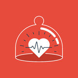 Health care icon, heart pulse, check up diagnostics Royalty Free Stock Photo
