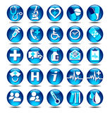 Health Care icons. 25 Health care Icons covering General Practice.rnAll elements are grouped and on individual layers in the vector file for easy use Stock Photo