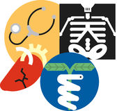 Health care icons. Set of icons related to health care, medicine, body and physicians Stock Photography