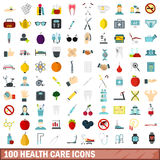 100 health care icons set, flat style Stock Images
